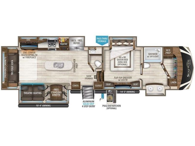 2018 Grand Design Solitude 373FB floorplan image