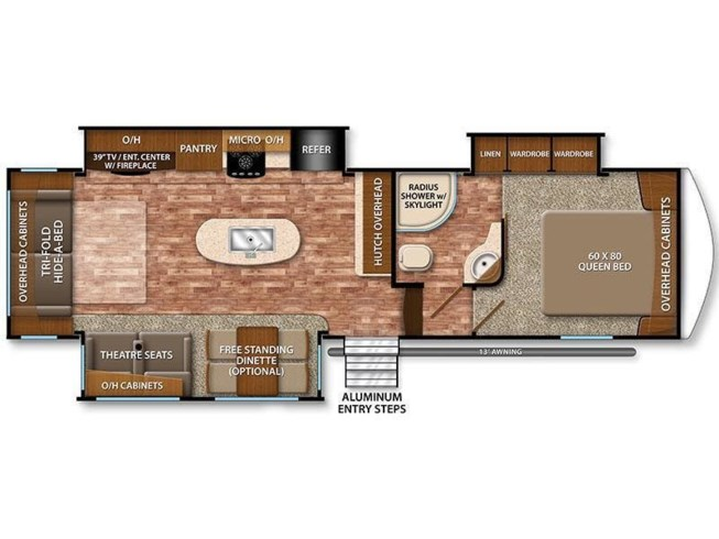 2017 Grand Design Reflection 303RLS floorplan image