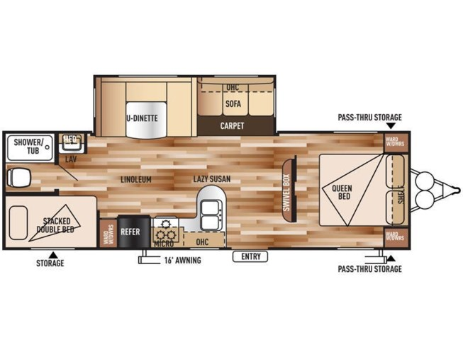 2015 Forest River Wildwood 28DBUD floorplan image