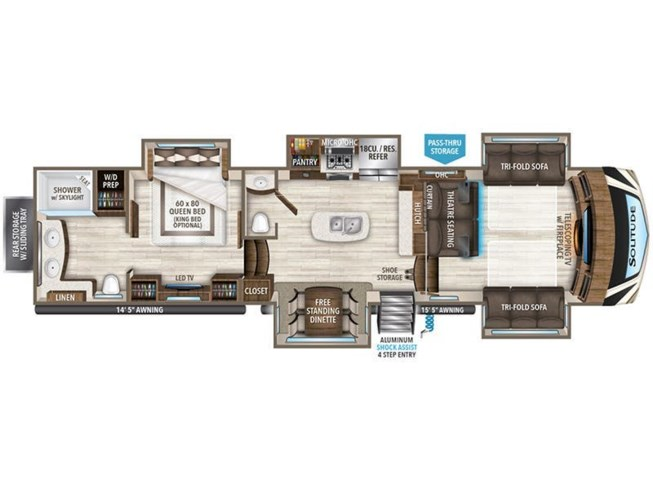 2019 Grand Design Solitude 380FL floorplan image