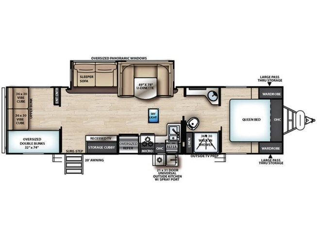 2019 Forest River Vibe 28BH floorplan image