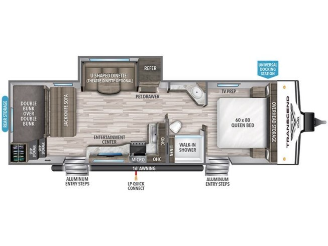 2021 Grand Design Transcend Xplor 265BH floorplan image