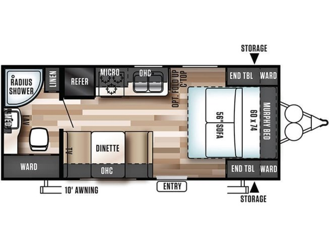 2018 Forest River Salem Cruise Lite 171RBXL floorplan image