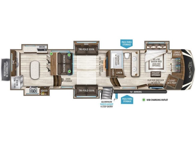 2020 Grand Design Solitude 390RK floorplan image