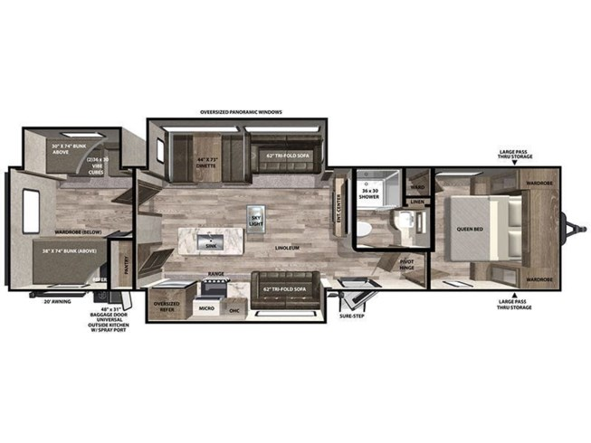 2020 Forest River Vibe 34BH floorplan image