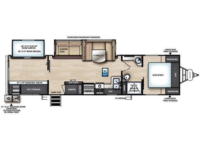 2020 Forest River Vibe 29BH floorplan image