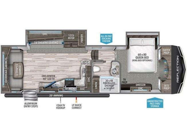 2021 Grand Design Reflection 310RLS floorplan image