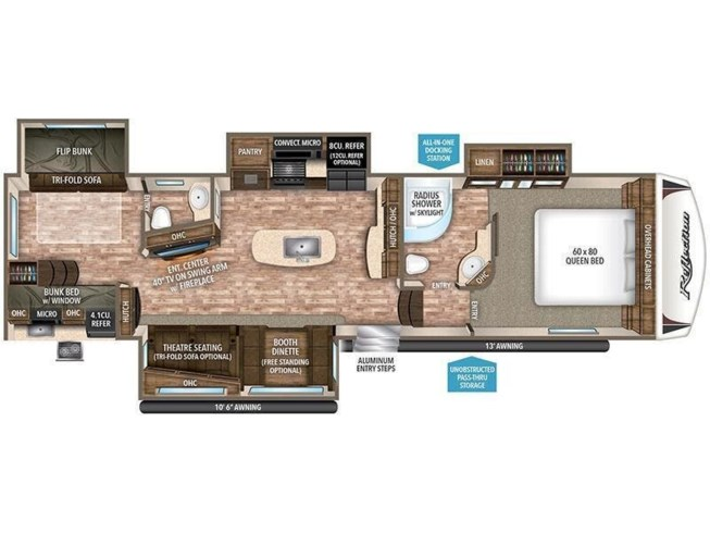 2018 Grand Design Reflection 311BHS floorplan image