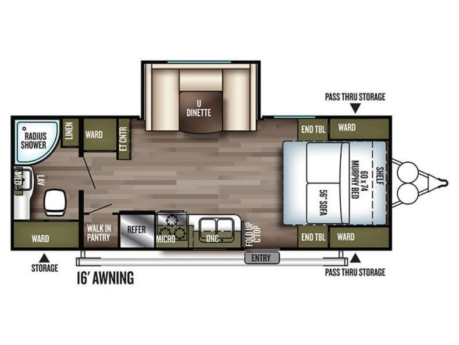 2019 Forest River Wildwood X-Lite 233RBXL floorplan image