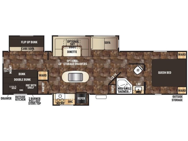 2016 Forest River Cherokee 304BH floorplan image