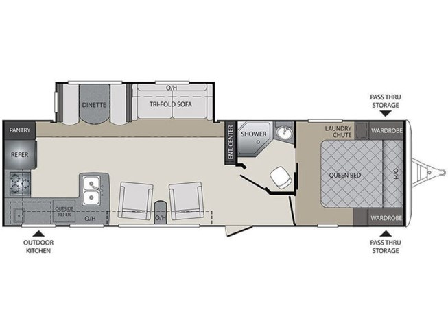 Floorplan of 2017 Keystone Bullet 29RKPR