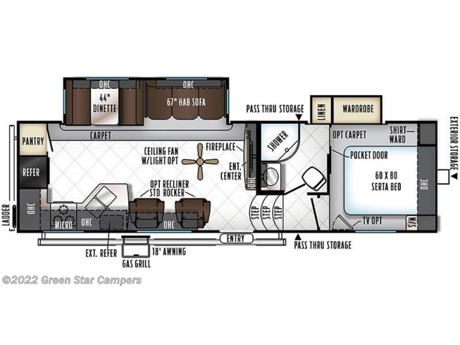 2018 Forest River Rockwood Ultra Lite 2880WS floorplan image
