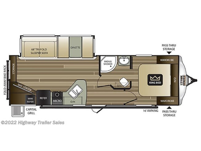 Floorplan of 2021 Keystone Cougar Half-Ton 27RESWE
