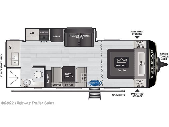Floorplan of 2021 Keystone Cougar Half-Ton 22MLS