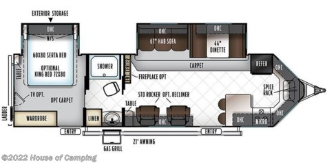 2018 Forest River Rockwood Windjammer 3008V floorplan image