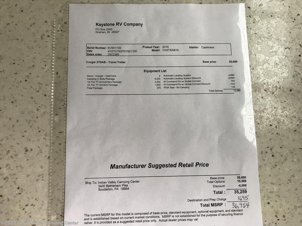 2019 Keystone Rv Cougar Half Ton 27sab For Sale In Souderton Pa Thermostat Wiring Diagrams Next