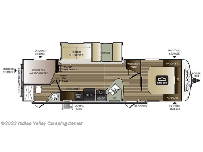 Floorplan of 2021 Keystone Cougar Half-Ton 29BHS