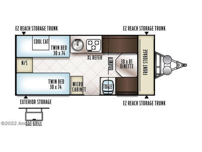 2018 Forest River Flagstaff Hard Side T21TBHW floorplan image