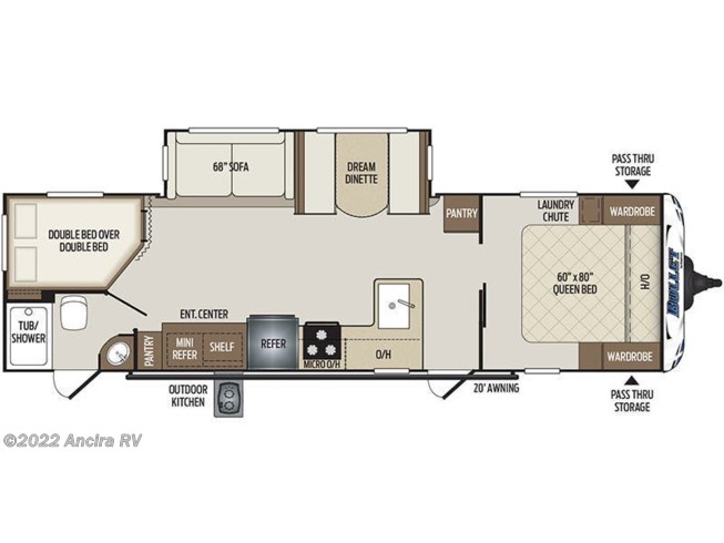 Floorplan of 2021 Keystone Bullet 290BHS
