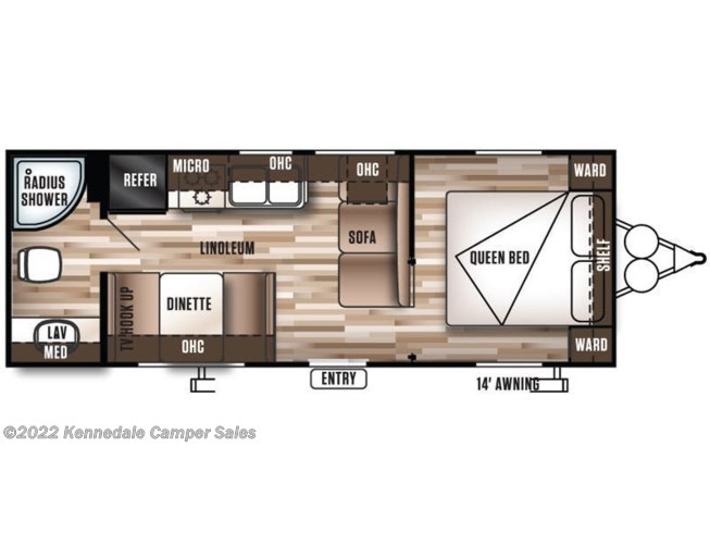 Floorplan of 2016 Forest River Wildwood X-Lite 241QBXL