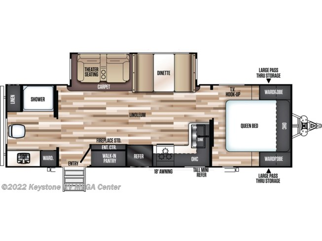 Floorplan of 2020 Forest River Salem Hemisphere Hyper-Lyte 25RBHL