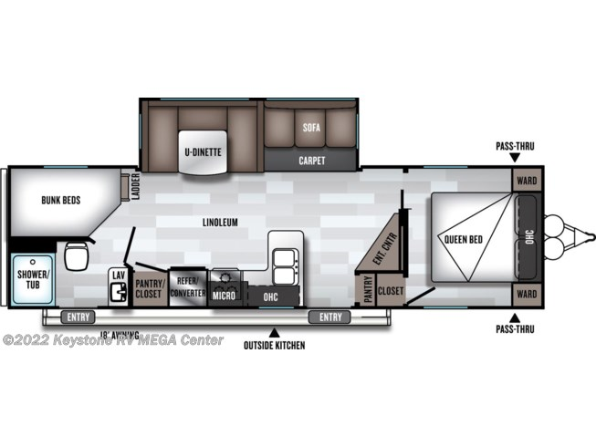 Floorplan of 2020 Forest River Salem 26DBUD