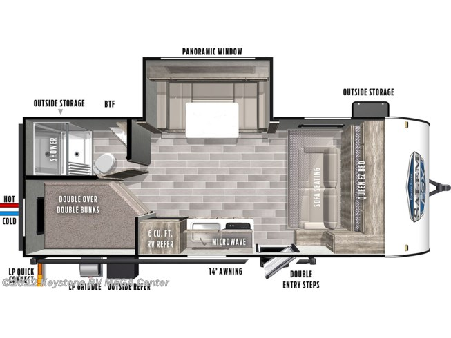Floorplan of 2021 Forest River Salem FSX 178BHSK