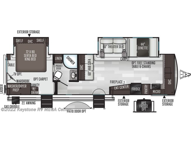Floorplan of 2021 Forest River Flagstaff Classic 832CLSB