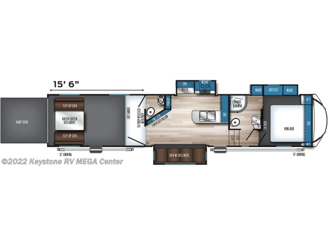 Floorplan of 2021 Forest River Vengeance Rogue Armored 383