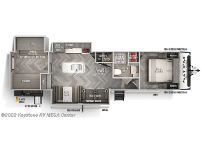 Floorplan of 2021 Forest River Salem Hemisphere 310BHI