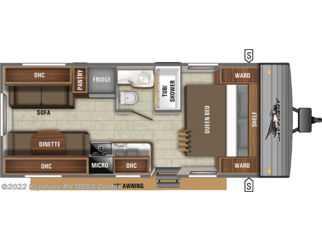 Floorplan of 2021 Jayco Jay Flight SLX 212QB