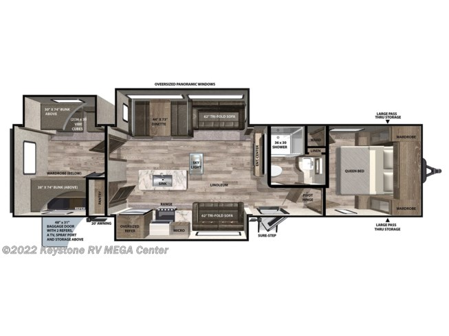 Floorplan of 2021 Forest River Vibe 34BH