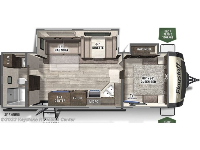 Floorplan of 2021 Forest River Flagstaff Classic Super Lite 26RBWS