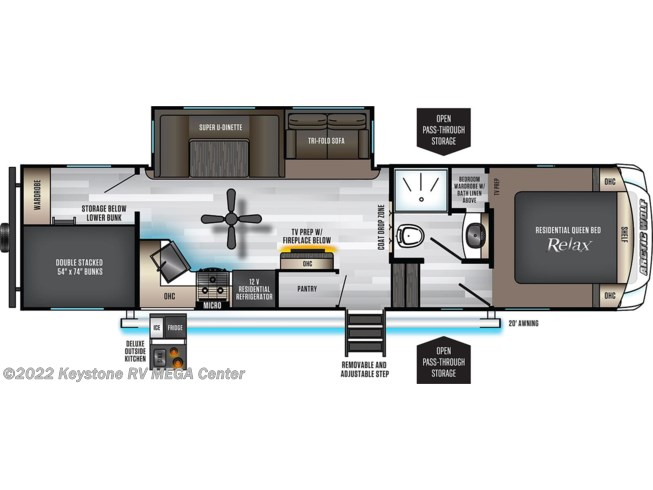 Floorplan of 2021 Forest River Arctic Wolf 287BH