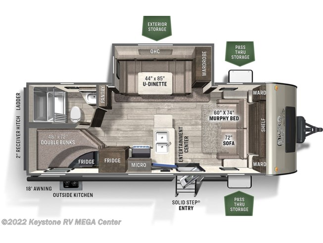 Floorplan of 2021 Forest River Flagstaff Micro Lite 25BRDS