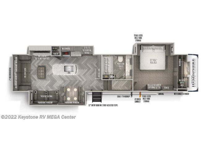 Floorplan of 2021 Forest River Salem Hemisphere Elite 34RL