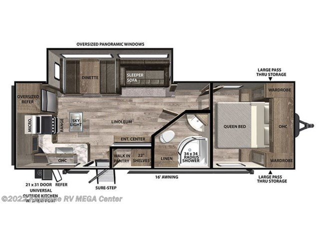 Floorplan of 2021 Forest River Vibe 25RK