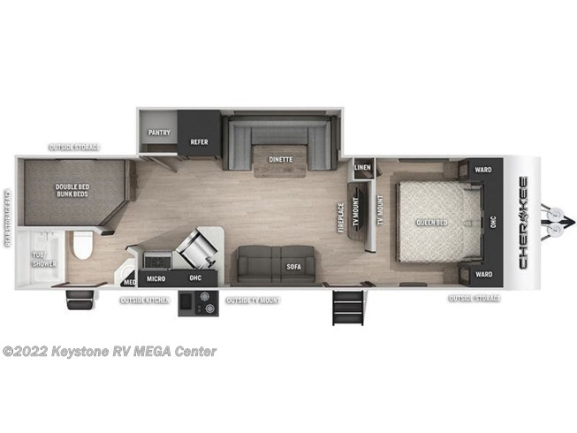 Floorplan of 2021 Forest River Cherokee 274BRB