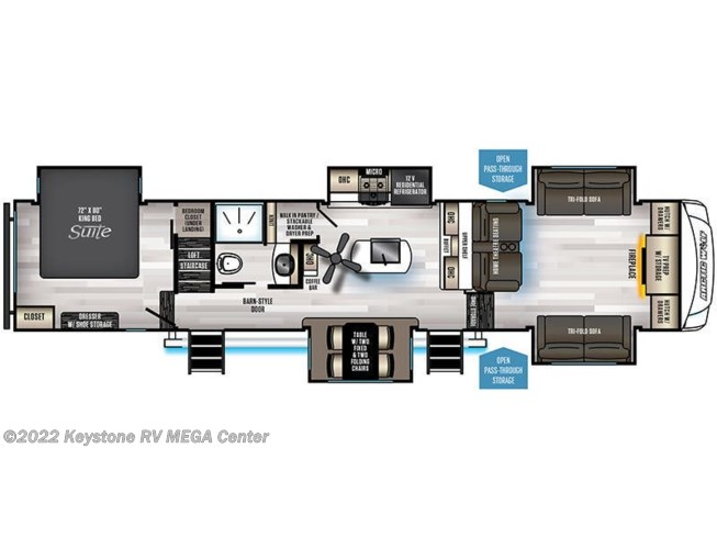 Floorplan of 2021 Forest River Arctic Wolf 3990 SUITE