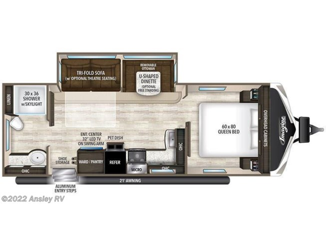 2018 Grand Design Imagine 2600RB floorplan image