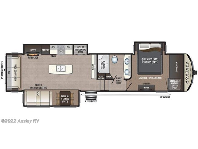 2018 Keystone Montana High Country 331RL floorplan image