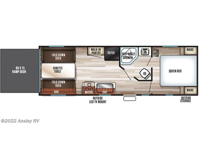 2018 Forest River Grey Wolf 22RR floorplan image