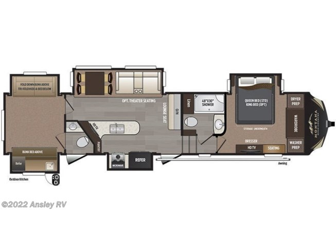 2017 Keystone Montana High Country 358BH floorplan image