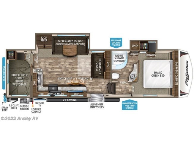 2019 Grand Design Reflection 28BH floorplan image