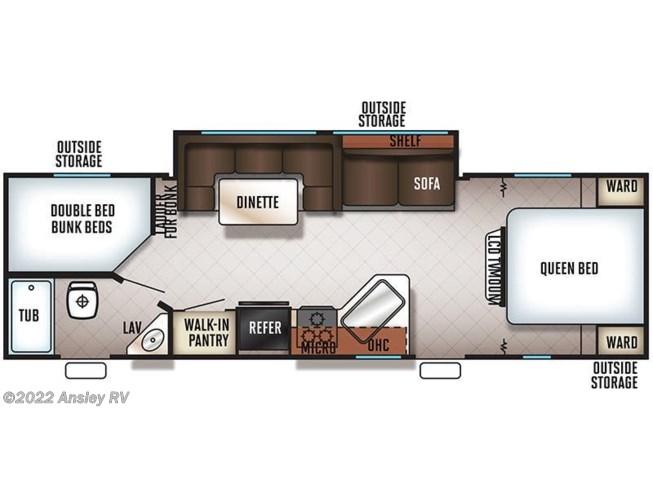 2019 Forest River Cherokee Grey Wolf 26DBH floorplan image