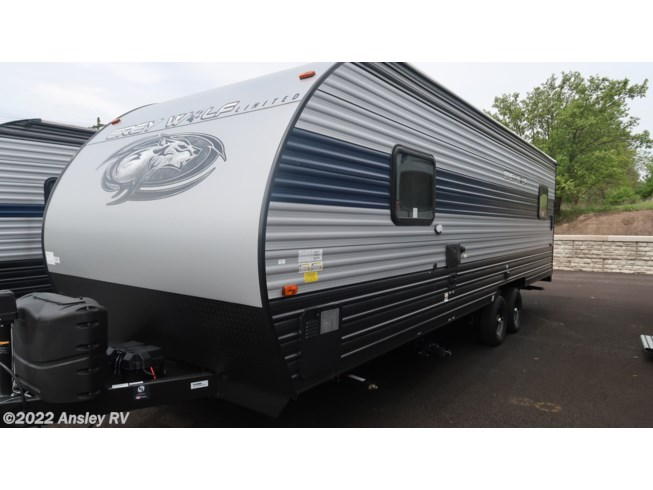 2021 Forest River Cherokee Grey Wolf 22RR - New Toy Hauler For Sale by Ansley RV in Duncansville, Pennsylvania features Air Conditioning, AM/FM/CD, Auxiliary Battery, Awning, Batteries, CD Player, CO Detector, Exterior Speakers, Furnace, Leveling Jacks, LP Detector, Medicine Cabinet, Microwave, Power Awning, Queen Bed, Refrigerator, Roof Vents, Shower, Smoke Detector, Stove, Stove Top Burner, Toilet, Water Heater