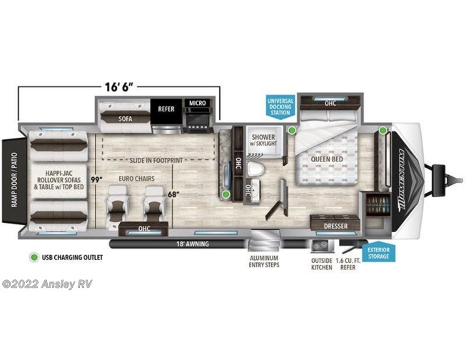 Floorplan of 2021 Grand Design Momentum G-Class 28G