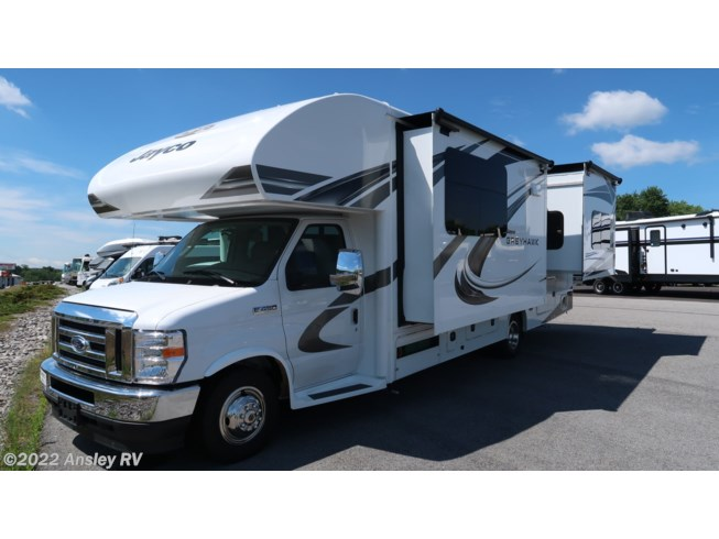 2021 Jayco Greyhawk 27U - New Class C For Sale by Ansley RV in Duncansville, Pennsylvania features Air Conditioning, AM/FM/CD, Auxiliary Battery, Awning, Backup Monitor, Batteries, Battery Charger, Booth Dinette, CD Player, CO Detector, Converter, DVD Player, Exterior Speakers, External Shower, Furnace, Generator, GPS Navigation, Hitch, Inverter, King Size Bed, Ladder, Leveling Jacks, LP Detector, Medicine Cabinet, Microwave, Non-Smoking Unit, Oven, Power Awning, Power Entrance Step, Refrigerator, Roof Vents, Shower, Skylight, Slideout, Slide-out Awning, Smoke Detector, Stove, Stove Top Burner, Toilet, TV, Water Heater