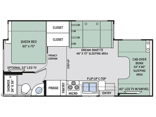 Floorplan of 2020 Thor Motor Coach Chateau 24F