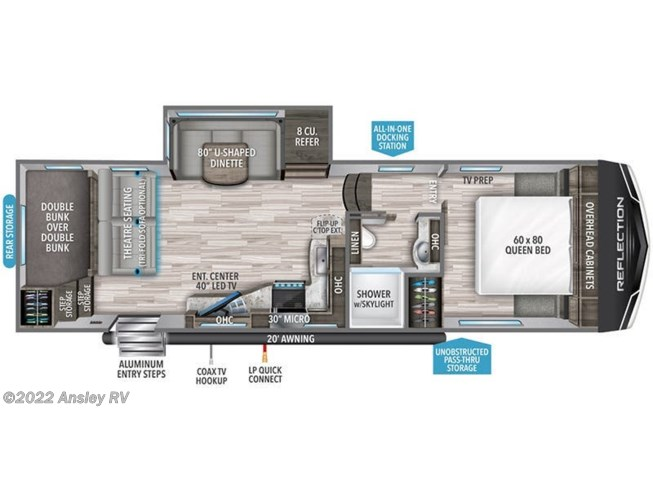 Floorplan of 2021 Grand Design Reflection 150 Series 268BH
